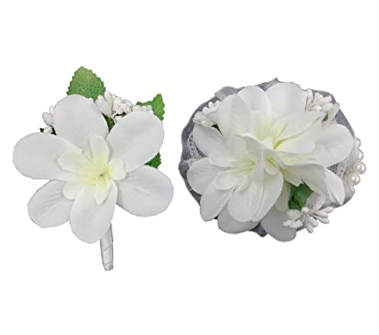 Amazon simple white corsage and boutonniere sets for prom simple white corsage and boutonniere sets for prom artificial fabric flowers winter spring wedding decoration mightylinksfo