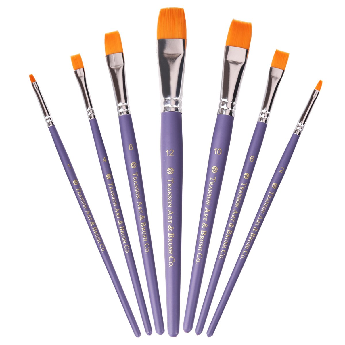 Transon Paint Brushes Set 7pcs for Miniature, Acrylic, Model, Oil, Gouache and Body Painting Suitable for Artist, Students&Kids