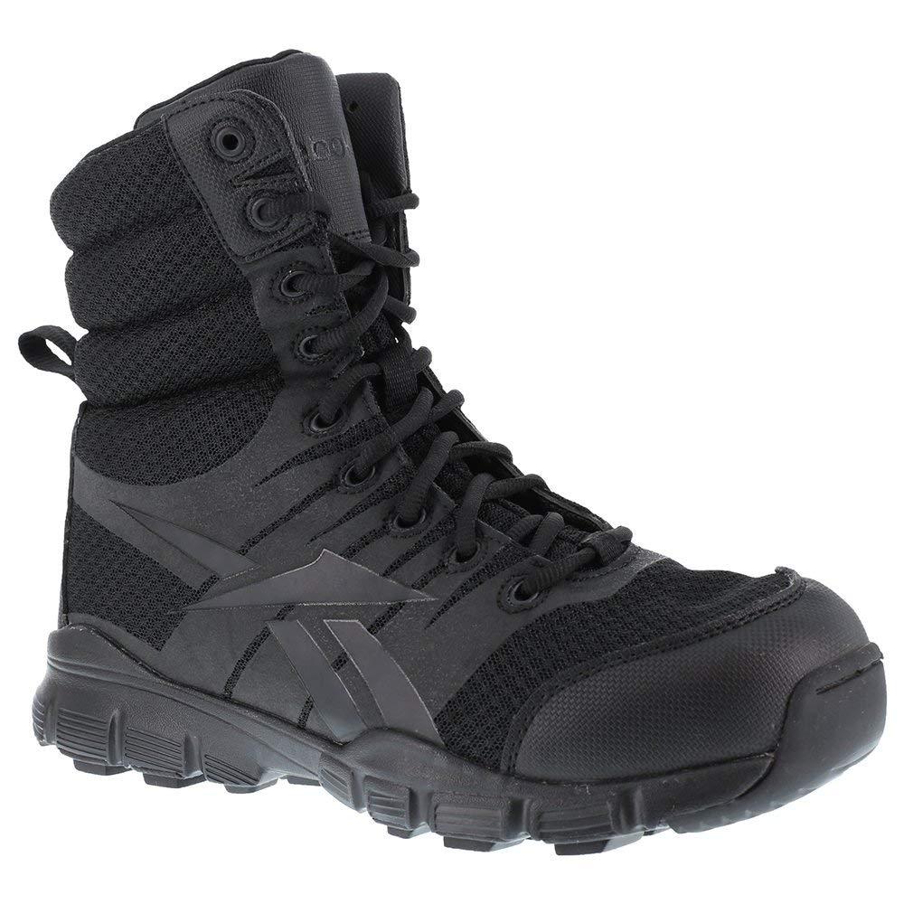 TALLA 6-M. Reebok de Hombre Dauntless 8-Inch sin Costuras Laterales con Cremallera Boots-Black, tamaño 7