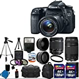 Canon EOS 70D 20.2 MP Digital SLR Camera with Dual Pixel CMOS AF Full HD 1080p Video with Movie and EF-S 18-55mm F3.5-5.6 IS STM with Canon EF 75-300mm f/4-5.6 III Telephoto Zoom Lens for Canon SLR Cameras + 58mm 2x Professional Lens + High Definition 58mm Wide Angle Lens + Auto Flash + Uv Filter Kit withwith 48GB Complete Deluxe Accessory Bundle