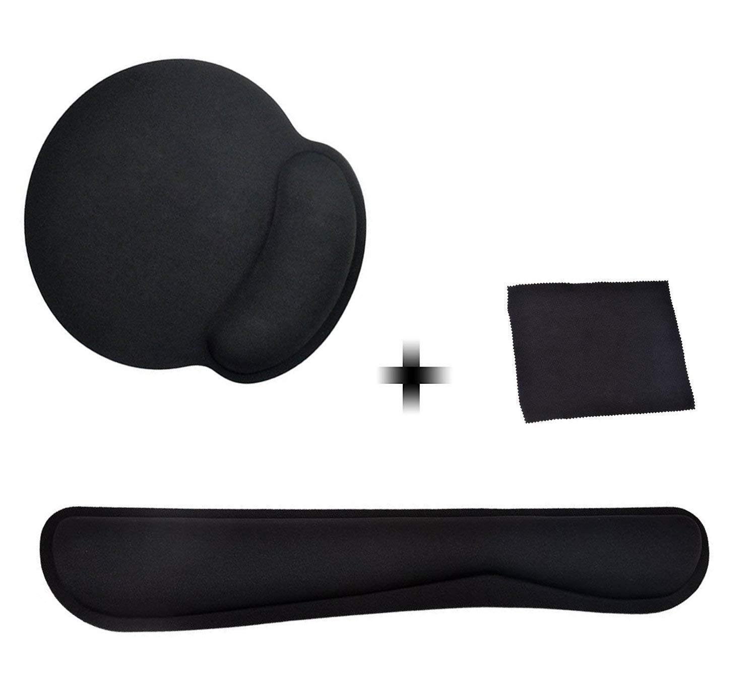 Ledinus Memory Foam Non Slip Mouse Pad and Keyboard Wrist Rest Support For Office, Computer, Laptop & Mac with Free Cleaning Cloth - Durable & Comfortable & Lightweight For Easy Typing & Pain Relief
