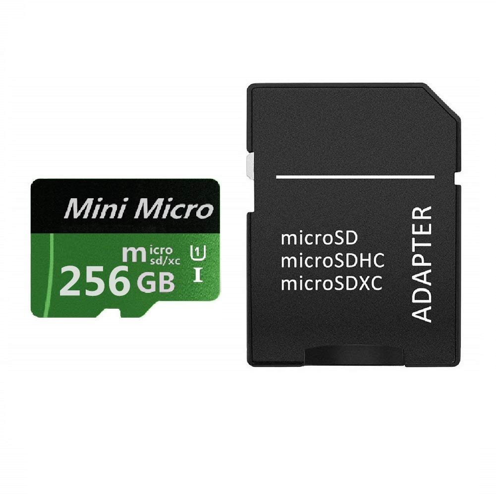 Green 256GB SD Micro Memory Card with A Free Adapter, High Speed 256 GB SD Micro Card Class 10 Memory Card for Memory Expansion, Movie Music Storage, Portable Carrying, Data Copy and Traffic Recorder Mem Senqploop