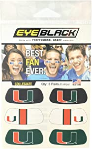 EyeBlack Miami Hurricanes Eye Black Anti Glare Stickers, Great for Fans and Athletes on Game Day, 3 Pair