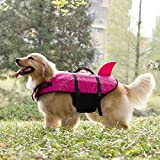 Kimol XL Dog Life Jacket Shark Dog Swimming Vest, Rose