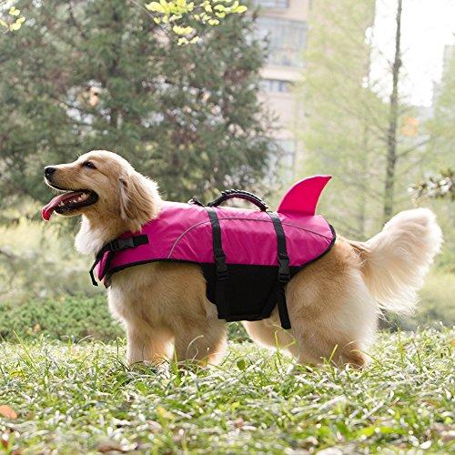 Shark Life - Kimol Small Dog Life Jacket Shark Dog Swimming Vest, Rose