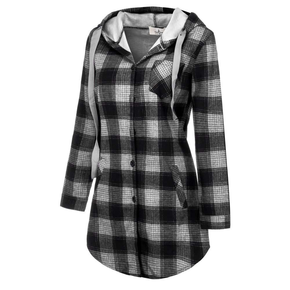 FarJing Womens Coat Plus Size Long Sleeve Plaid Print Thicken Hooded Button Jacket