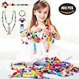 BESKIT 400 Pcs Pop Snap Beads Set - Arty Snap Together Beads for Girls Toddlers Kids Creative DIY Jewelry Set Toys - Making Necklace, Bracelet and Ring - Ideal Christmas & Birthday Gifts for Girls