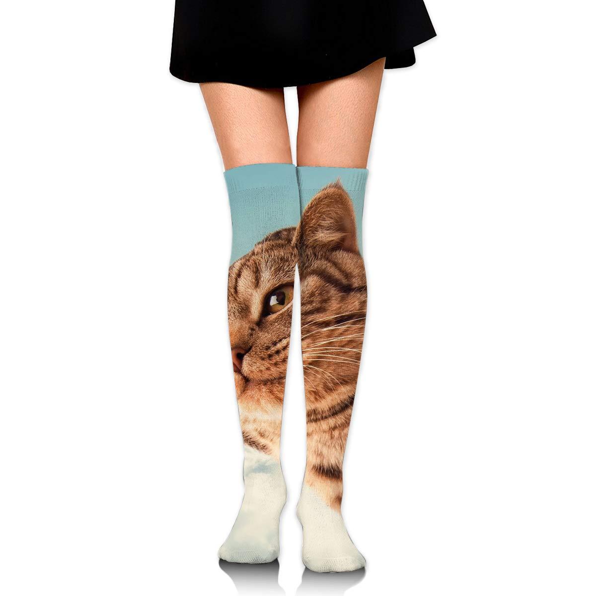High Elasticity Girl Cotton Knee High Socks Uniform Cat I Belive I Can Fly Women Tube Socks