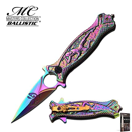 Amazon.com: SPRING-ASSIST KNIFE Rainbow Ninja Dagger japonés ...