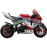 SYX MOTO Apex Dual Start 49cc 2-Stroke Gas Powered Kids Mini Pocket Bike, Off-Roading Rocket Motorcycle,Blue