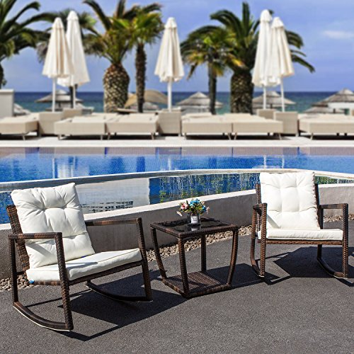COMHO Outdoor Furniture Wicker Patio Rocking Chair Bistro Set Two Cushioned Chairs and Glass Coffee Table (3-Piece) (Rocking Chair Wicker Cushions)