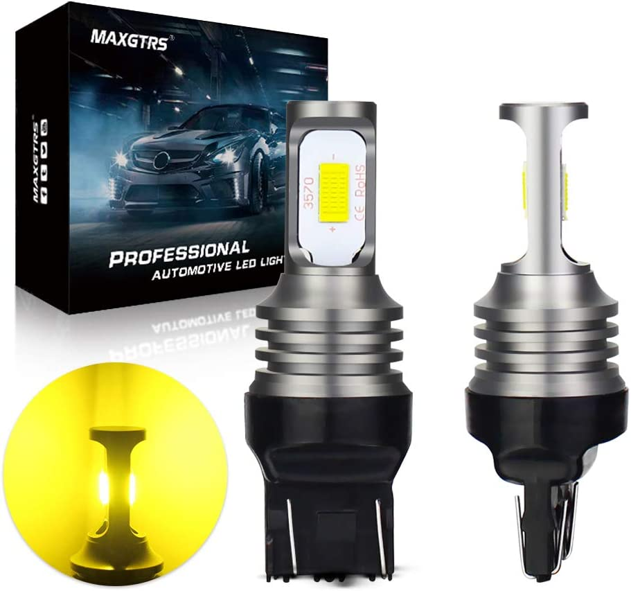 MAXGTRS W21/5W LED Bulbs 3570 CSP-Chip T20 7443 LED Lamps 3000K Golden Use for Reverse Lamps Back Up Light Tail Light Turn Signals Brake Light