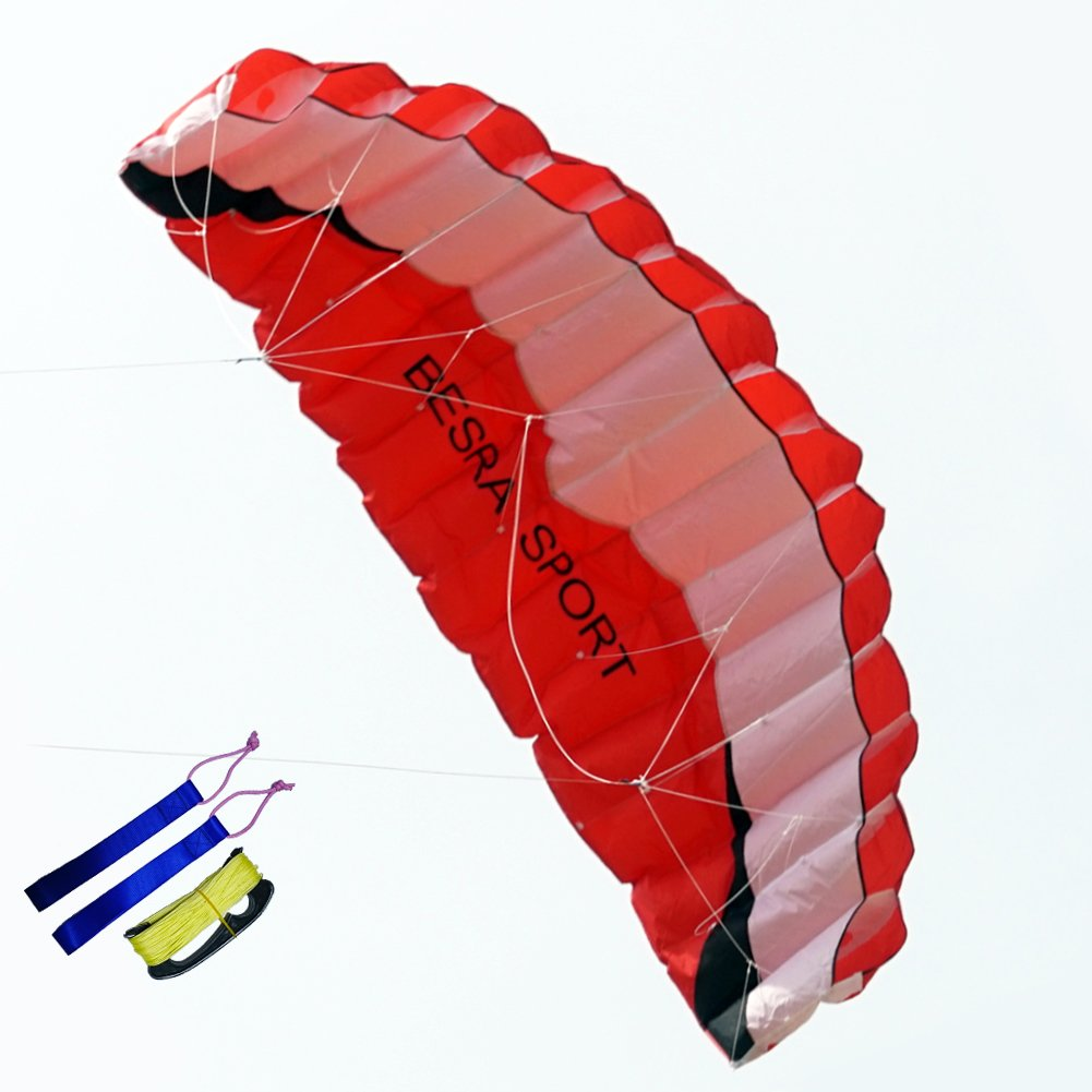 Besra Huge 102inch Dual Line Parachute Stunt Kite with Flying Tools 2.6m Power Parafoil Kites Outdoor Fun Sports for Beach & Park (102inch Red) by Besra