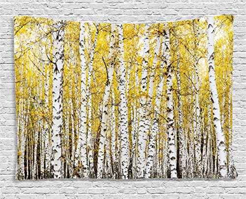 Farm House Decor Tapestry by Ambesonne, Autumn Birch Forest Golden Leaves Woodland October Seasonal Nature Picture, Wall Hanging for Bedroom Living Room Dorm, 60 W X 40 L Inches, Yellow and Grey