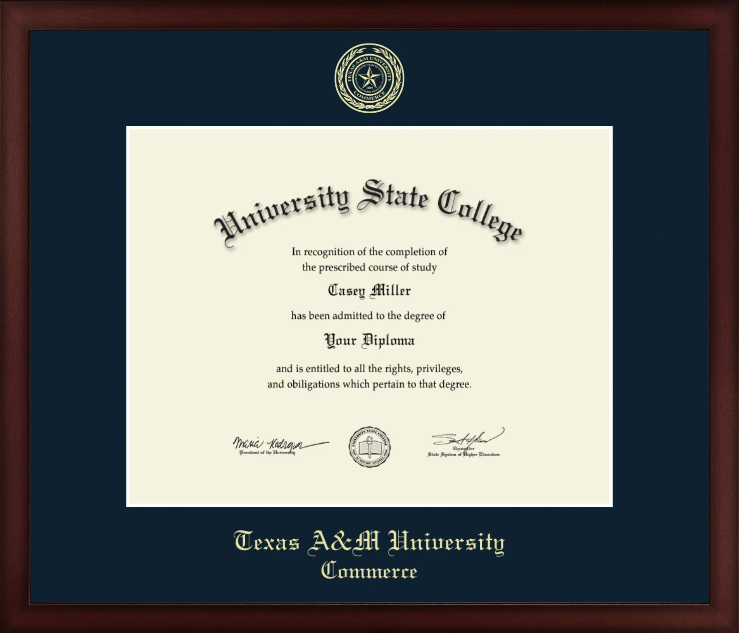 Texas A&M University - Commerce - Officially Licensed - Gold Embossed Diploma Frame - Diploma Size 14'' x 11''