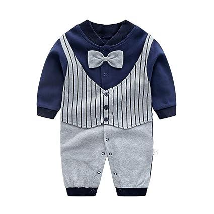 86e92c5ec44e3 Limi ベビー 赤ちゃん 紳士 ジェントルマン フォーマル ロンパース 長袖 オシャレ カバーオール 100% 綿製 肌着