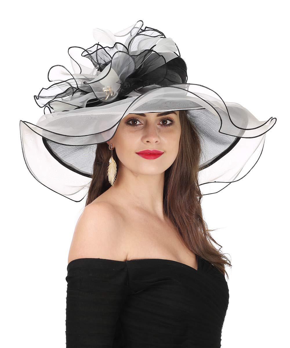 Lucky Leaf Women Kentucky Derby Church Cap Wide Brim Summer Sun Hat for Party Wedding (Bowknot-Black/Beige)