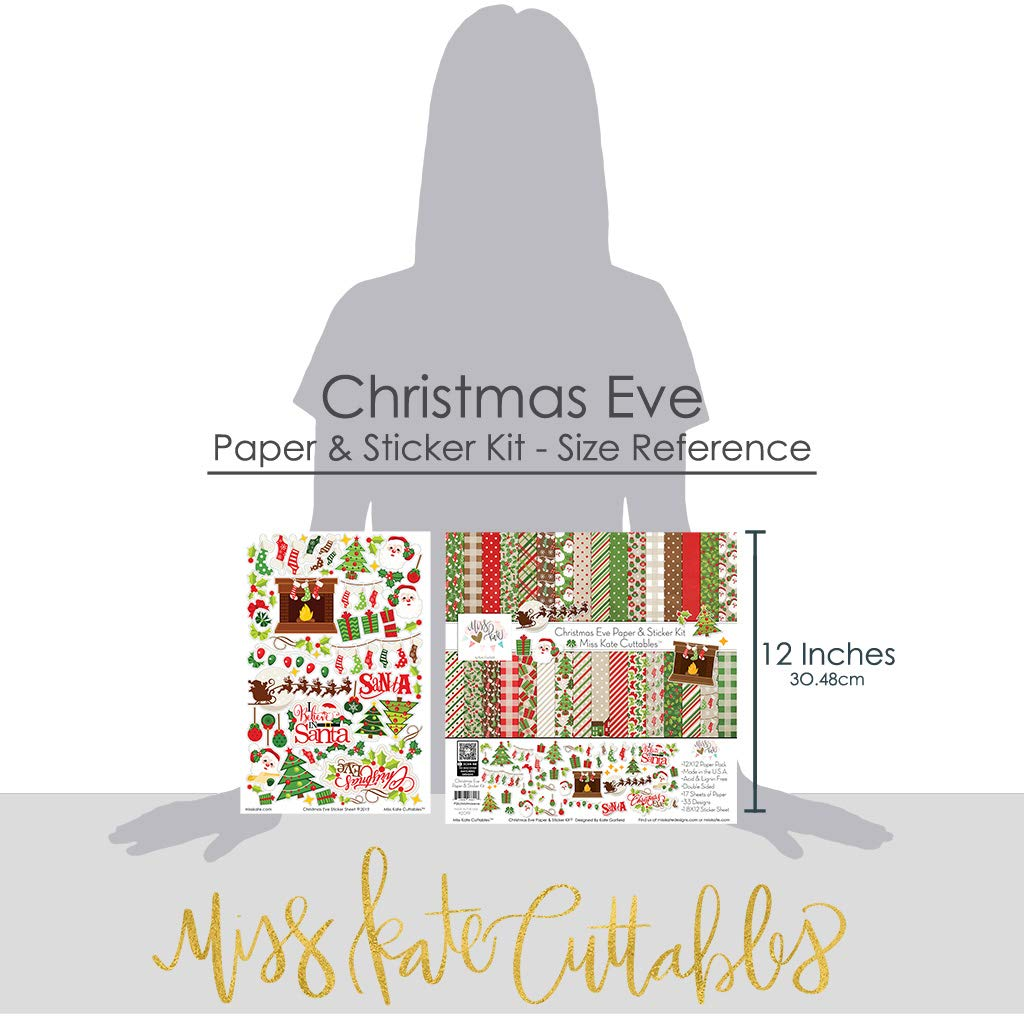 17 Double-Sided 12x12 Papers with 33 Designs /& 1 8X12 Sticker Sheet Christmas Eve Paper /& Sticker Kit by Miss Kate Cuttables Scrapbooking Card Making Crafting