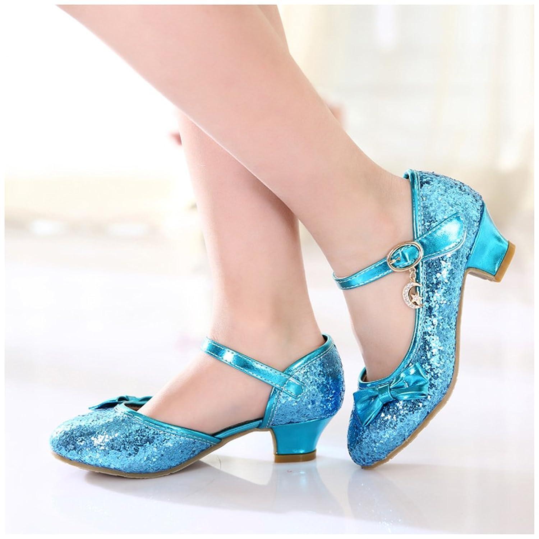 Free Fisher Antideslizante Merceditas Zapatos de boda fiesta baile, diseño brillante con tacón bajo para niñas, Azul, 231