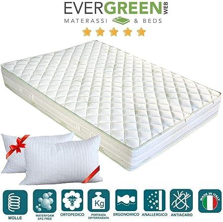 Evergreenweb Materassi.Evergreenweb Materasso Matrimoniale 160x190 Alto 20cm A Molle In
