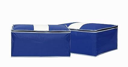 StorageManiac Pack de 2 cajas para almacenamiento de ropa y accesorios. Reforzado y con cierre