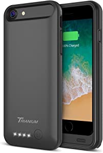"iPhone 8/7 Battery Case, Trianium Atomic Pro 3200mAh Extended iPhone 7 8 Battery Portable Charger iPhone 7, iPhone 8 (4.7"") [Black] Power Charging Case Pack Juice Bank [Apple Certified Part]"