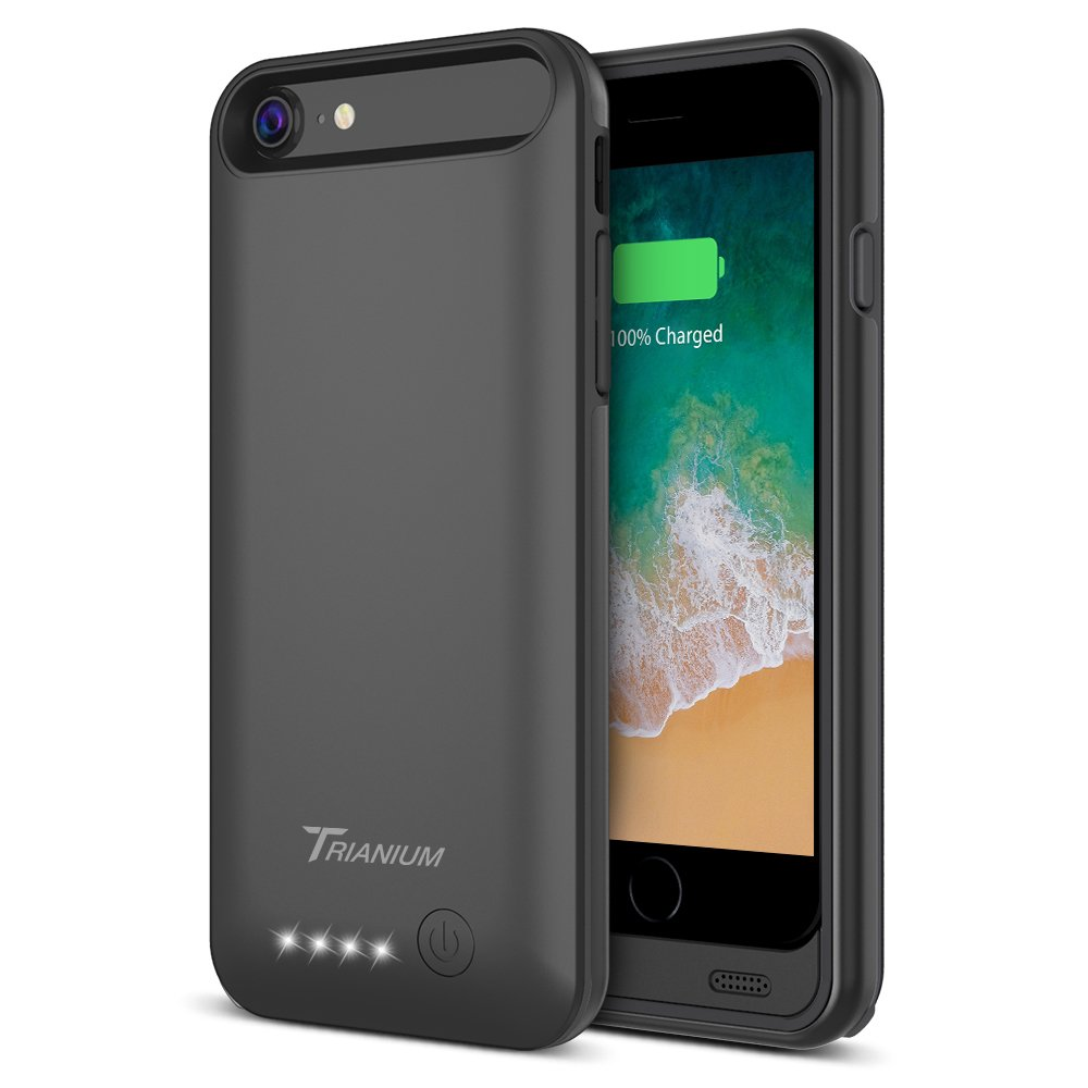 "iPhone 8 / 7 Battery Case, Trianium Atomic Pro 3200mAh Extended iPhone 7 8 Battery Portable Charger for iPhone 7, iPhone 8 (4.7"") [Black] Power Charging Case Pack Juice Bank [Apple Certified Part]"