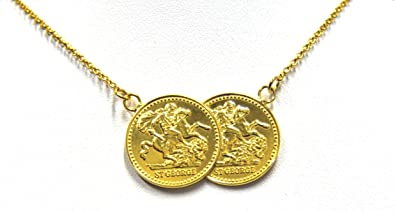 9ct Rose Gold Double Coin Necklace (18 IN) dfmrXtSx