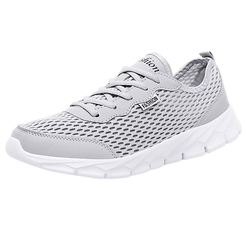 Men Women's Athletic Sneakers, Casual Mesh-Comfortable Walking Shoes Summer Breathable Lace Up Slip-on Walking Shoes (Gray, US:10) by Cealu