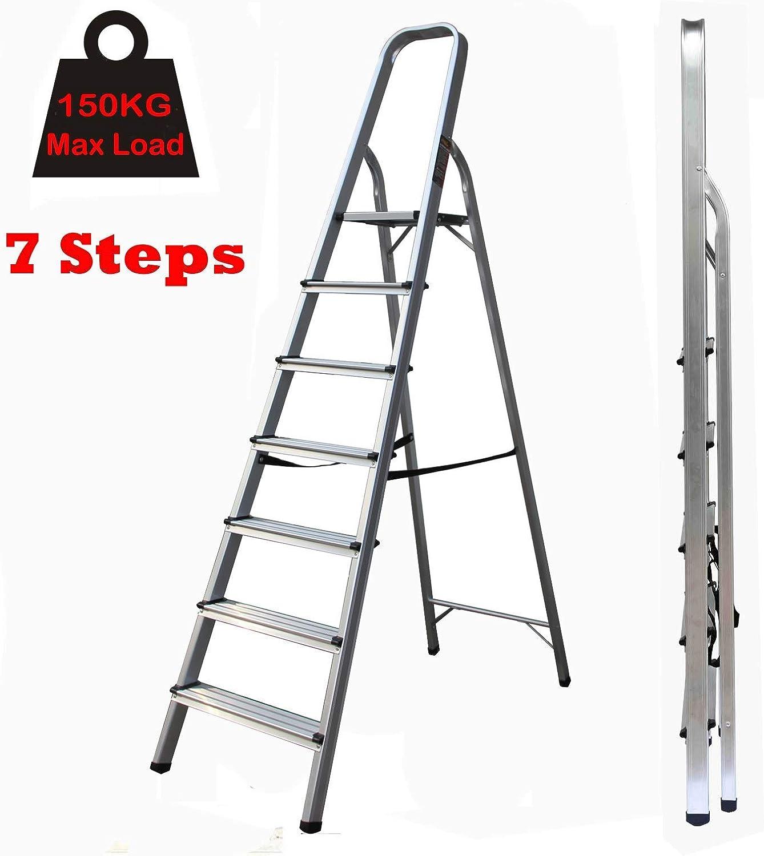 Escalera de Tijera Aluminio Ligero 7 peldaños Escalera de Tijera Alta Servicio Pesado 150 kg/330 Libras Capacidad Escalera de Seguridad Antideslizante EN131 Estándar para Oficina en casa: Amazon.es: Deportes y aire libre