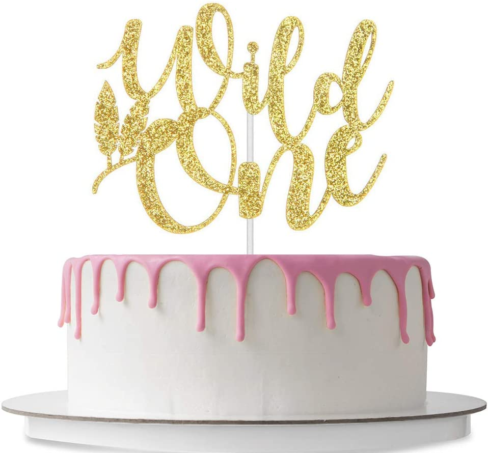 Wild One Birthday Decorations I Wild One Cake Topper I Black and Gold Glitter Acrylic Monogram Birthday Cake Toppers I Where the Wild Things are Cupcake Toppers I Baby Shower Supplies