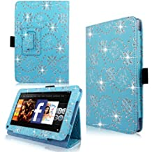 """Cellularvilla Case for Amazon Kindle Fire 7"""" Inch Pu Leather Baby Blue Glitter Flip Folio Stand Case Cover"""