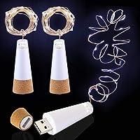 Led-wijnflesverlichting, oplaadbaar via USB, geen batterij nodig, 2 m koperen kabel, 20 leds, flessenlicht voor…