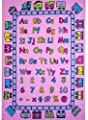 "ABC Fun Pink Kids Area Rug 5' x 7' Children Girls Carpet Playroom & Nursery - Non Skid Gel Backing (59"" x 82"")"
