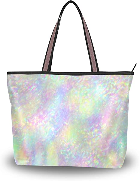 Iridescent PU leather Holographic purse bag Customized personalization! Large Holographic tote bag