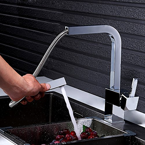 Jiuzhuo Contemporary Single Handle Square Pull-Out Brass Kitchen Sink Faucet Swivel Spout in Brushed Nickel or Chrome(Chrome) (Kitchen Modern Chrome Faucet)