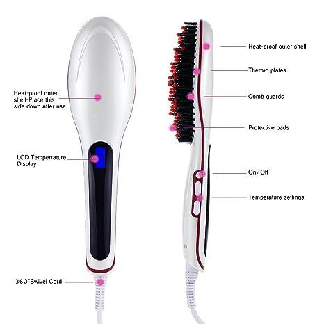 acevivi Plancha de pelo con aire caliente y LCD, enchufe UE