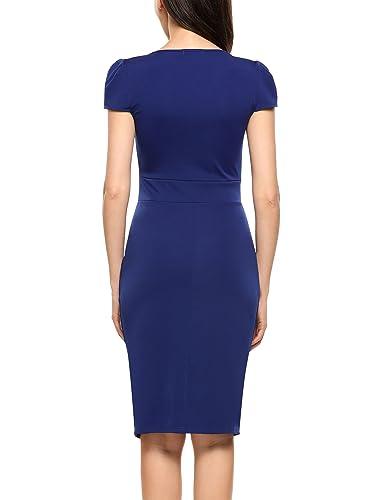 ACEVOG Damen Elegant Etuikleid Business Bleistiftkleid Knielang Kleid  Casual Kurzarm Abendkleid mit Schlitz: Amazon.de: Bekleidung