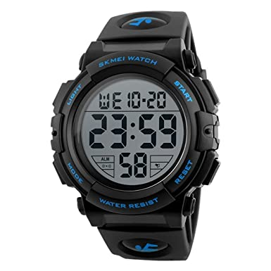 Men s Sports Watch Military Classic Stopwatch Large Dial Electronic LED Backlight Wristwatch 50M Waterproof Digital Watch Blue