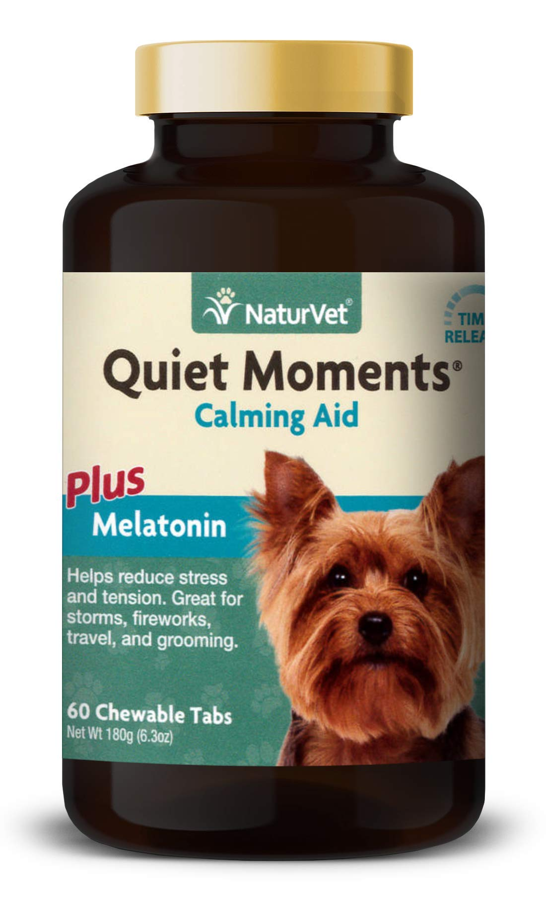 NaturVet - Quiet Moments Calming Aid for Dogs - Plus Melatonin - Helps Reduce Stress & Promote Relaxation - Great for Storms, Fireworks, Separation, Travel & Grooming - 60 Time Release Tablets by NaturVet