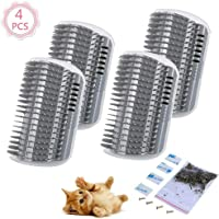4 Pcs/Set Cat Self Groomer Brush Catnip-Wall Corner Mounted Massage Grooming Comb-Helps Prevent Hairballs and Controls Shedd & Coming-Safe fortable with Catnip (Gray)