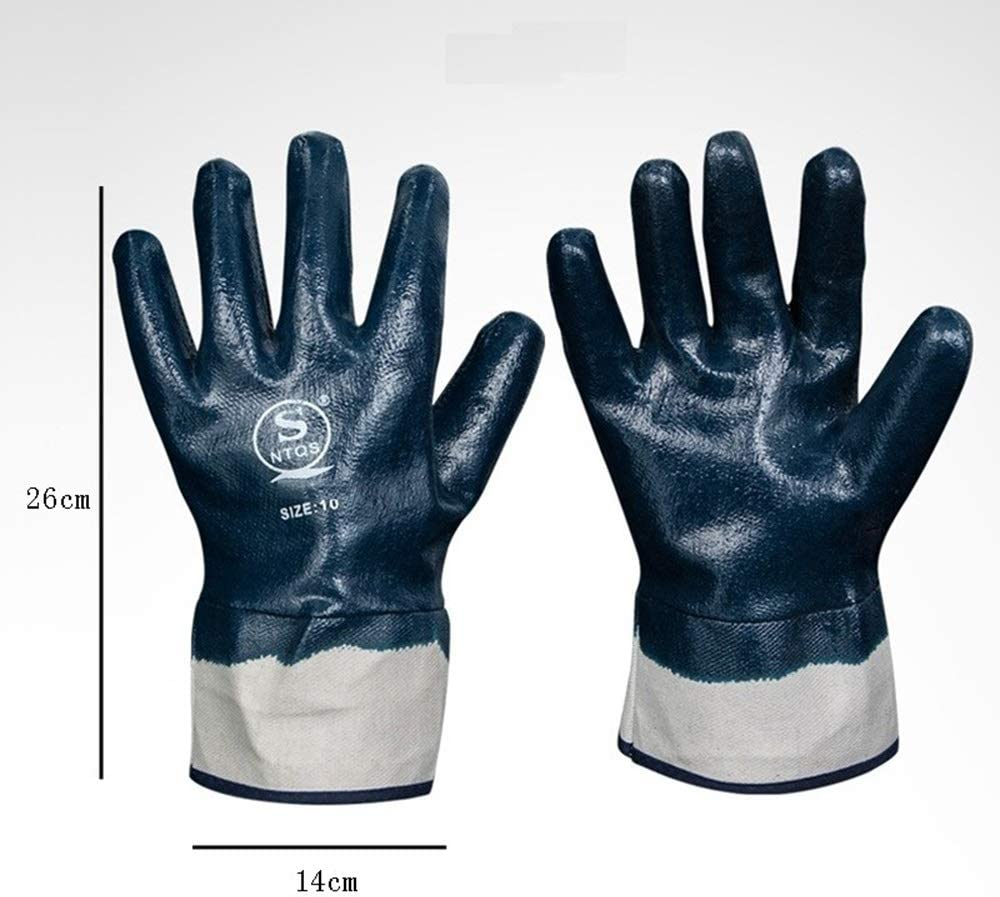HUOQILIN Canvas Oil Resistant Big Mouth Full Dipped Oil Proof Waterproof Wear Resistant Non-Slip Gloves Size : X5