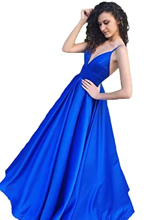 Graceprom Womens Royal Blue Prom Dress Spaghetti Straps Evening Party Dress at Amazon Womens Clothing store: