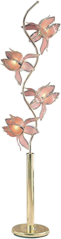 Ore International K9334G 73-Inch Flower Floor Lamp, Brass