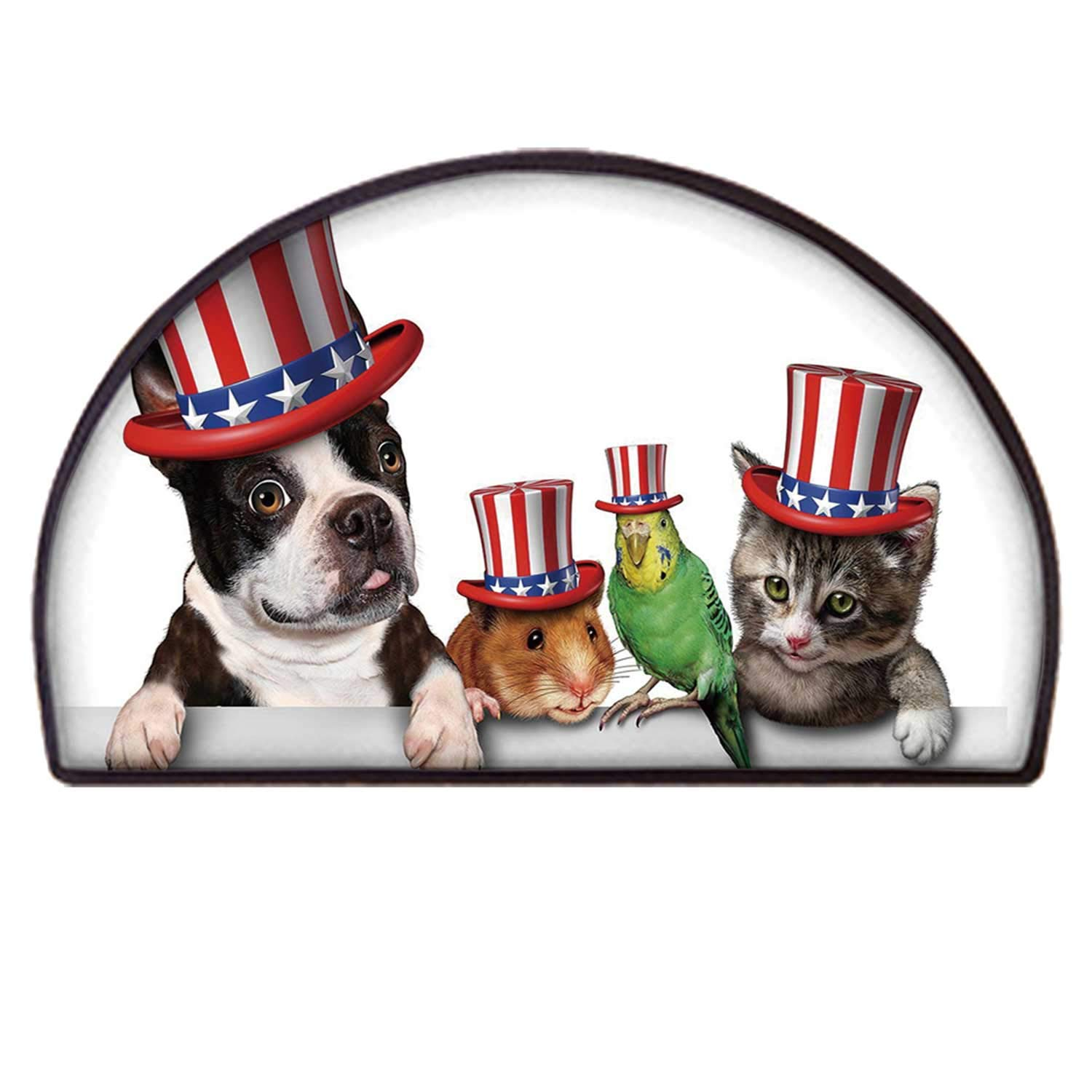 C COABALLA Fourth of July Practical Semicircle Mat,Cute Pet Animal Dog Cat Bird and Hamster with American Hat Celebration Image Decorative for Back Door,100 x 200cm / 39.37 x 78.74 inch by C COABALLA