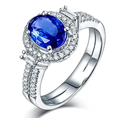 bf4bc08c9 Image Unavailable. Image not available for. Color: Beauty Lover Women Rings  14kt White Gold Natural Diamond Engagement Oval Shape 8x10mm Tanzanite