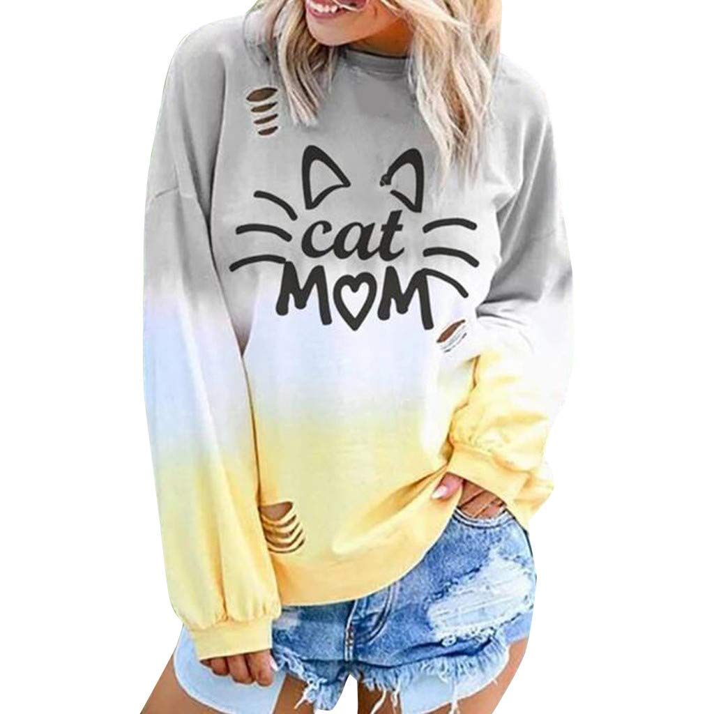 WUAI-Women Casual Cat Printed Gradient Colorblock Sweatshirt Loose Pullove Tops(Yellow,Small by WUAI-Women