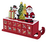 Kurt Adler Wooden Sleigh Shaped Advent Calendar, 14-Inch
