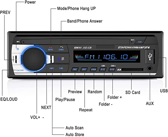 Hkang Jsd 520 Car Stereo Receiver Bluetooth In Car Stereo Audio Single Din In Dash Receiver 12 V Fm Radio Mp3 Player With Remote Control Auto