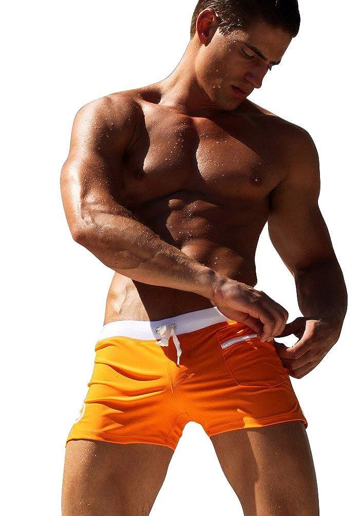 Vobaga Hombre Bañadores de Natación Traje de Baño Corto con Bolsillo Cierre de Cremallera Swimwear Pantalones S Orange